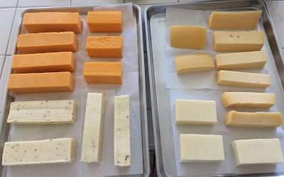 Cheeses (clockwise from top-left): cheddar, Gouda, Monterey Jack, pepper jack