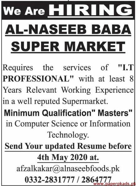 Al Naseeb Baba Super Market Jobs 2020