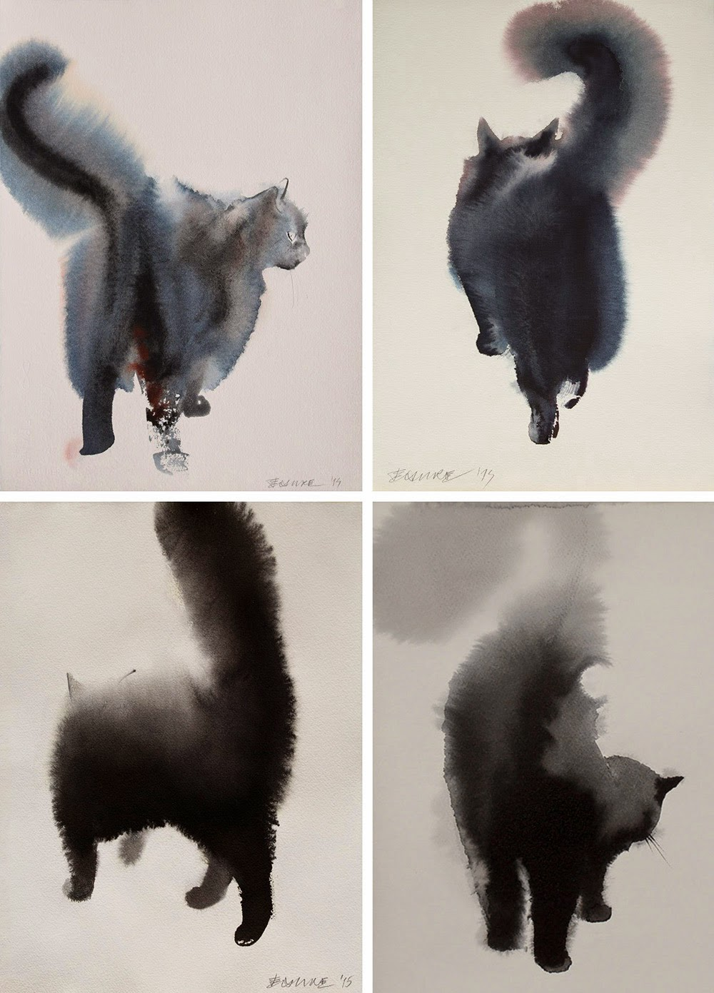 watercolor ink cats endre penovac-2