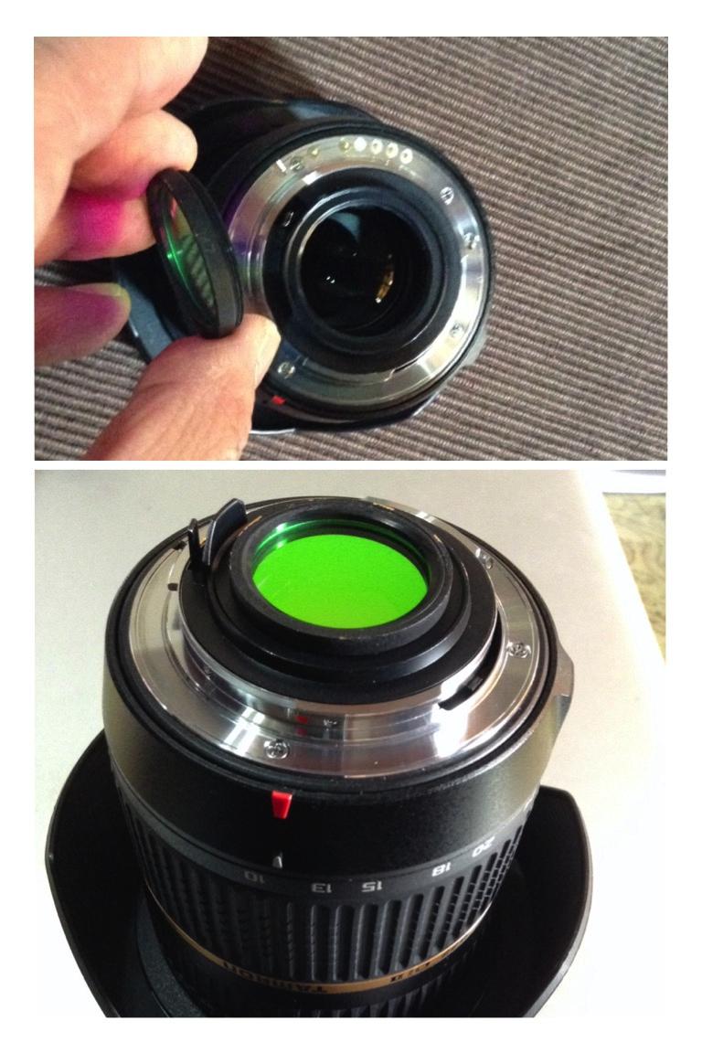 """將1.25"""" CLS濾鏡(需要磨薄才不會被相機的反光鏡打到)旋入(剛剛好)  Tamron 10-24 (B001)"""