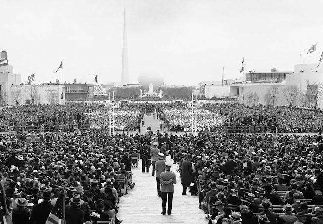 Some of the 35,000 guests of honor who listened to the opening speeches in the Court of Peace at the New York World's Fair, on April 30, 1939.