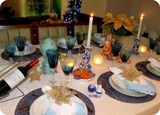 Decoração e Mesa de Natal em Azul