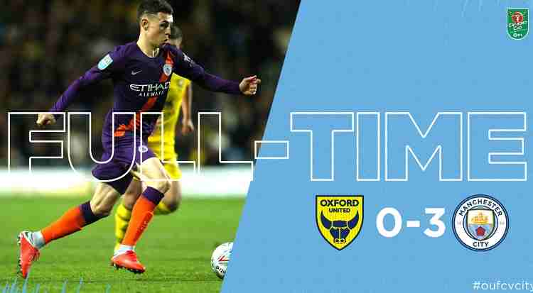Hasil Oxford United vs Manchester City Skor Akhir 0-3