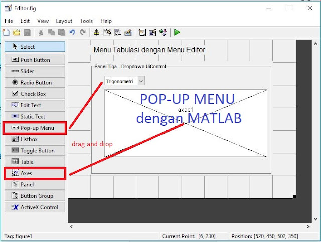 Membuat Drop-down dengan Pop-up Menu di MATLAB