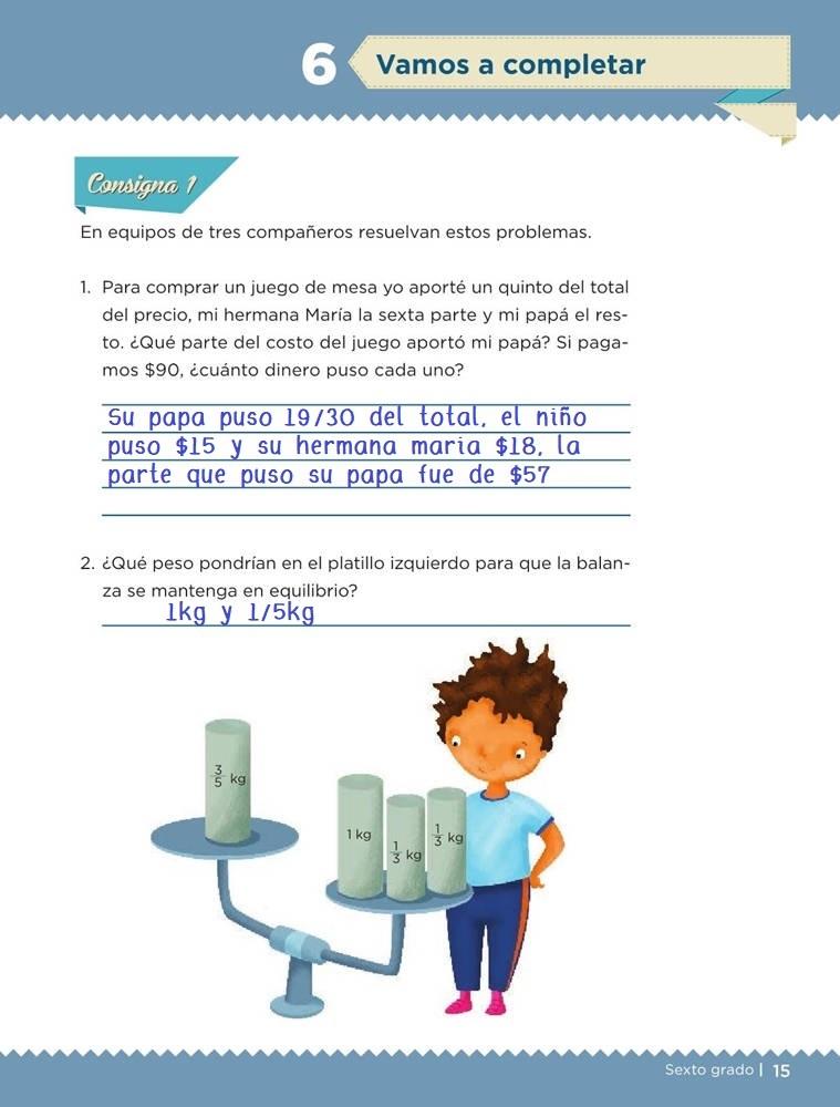 Libro de textoDesafíos MatemáticosVamos a completarSexto gradoContestado