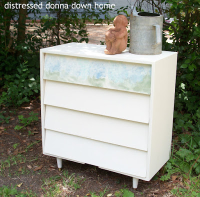 dresser makeover, Bermuda Sand paint, waxed paper transfer.