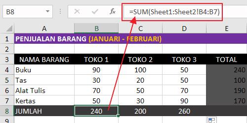 Rumus Excel Penjumlahan Banyak Sheet Pada Referensi Sel atau Range Yang Sama