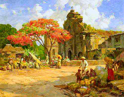 Fernando Amorsolo - Marketplace Before Church