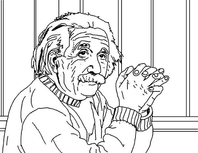 Coloring Page World: Albert Einstein (Landscape)