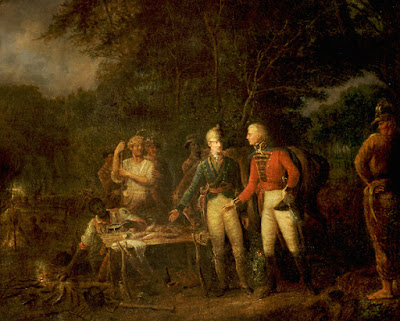 """General Francis Marion, also known as """"The Swamp Fox"""" Inviting a British Officer to Share His Meal - Sweet Potato Dinner"""
