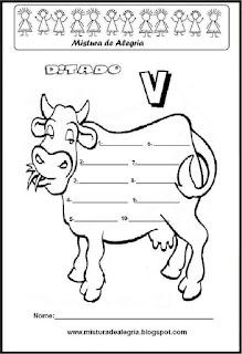 Treino ortográfico letra V de vaca