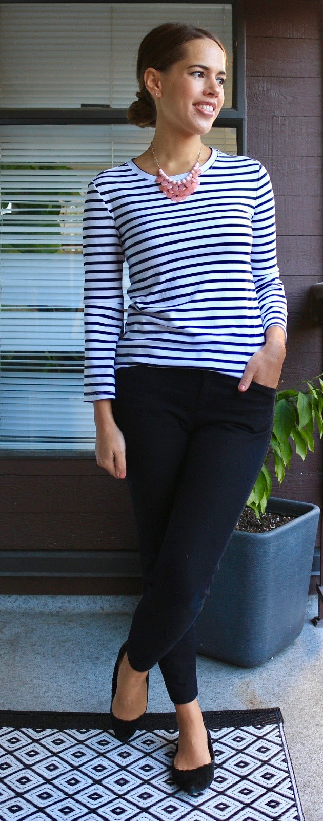Jules in Flats - Striped Bell Sleeve Top + Pixie Ankle Pants for Work
