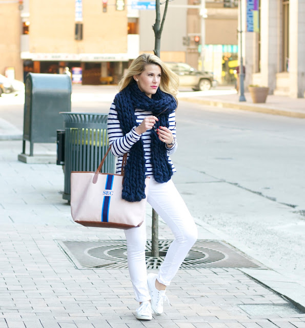 navy blue and white stripes with chunky scarf and monogrammed tote