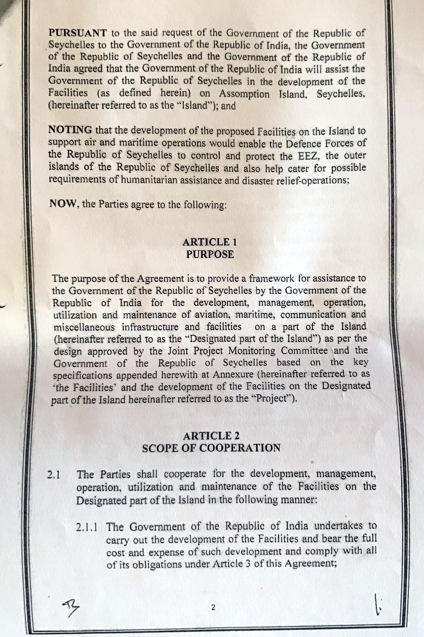 Seychelles Voice Leaked 2018 Revised Seychelles India Agreement