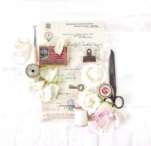 Instagrammer Wendy @modernandvintage, vintage vignette, vintage ephemera, styled ephemera, flowers and vintage sewing supplies