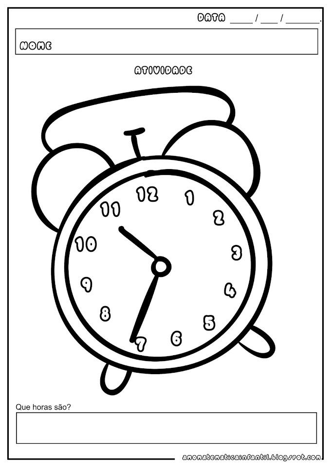 Atividade Relógio Analógico Horas