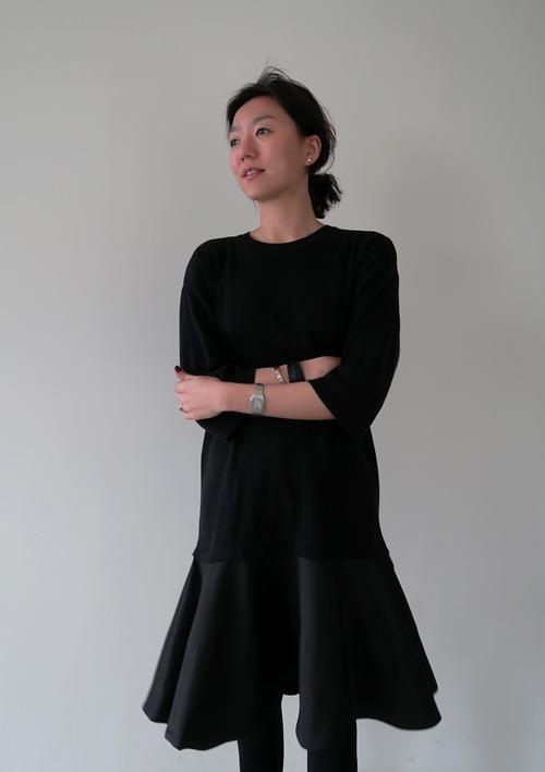 Pleated Hem Black Dress