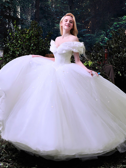 Fancy Off the Shoulder Ruffles Cinderella White Tulle Ball Gown Wedding Dress (11341995)