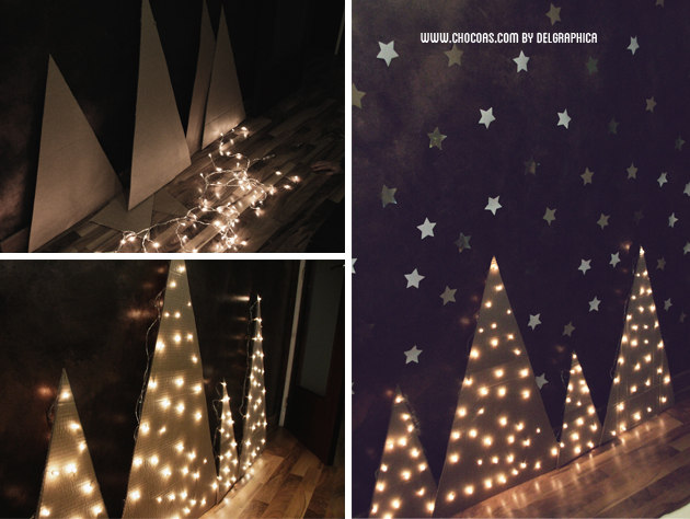 decoración navidad árbol reciclado cartón