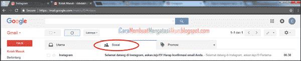 buat akun instagram lewat google - verifikasi email instagram