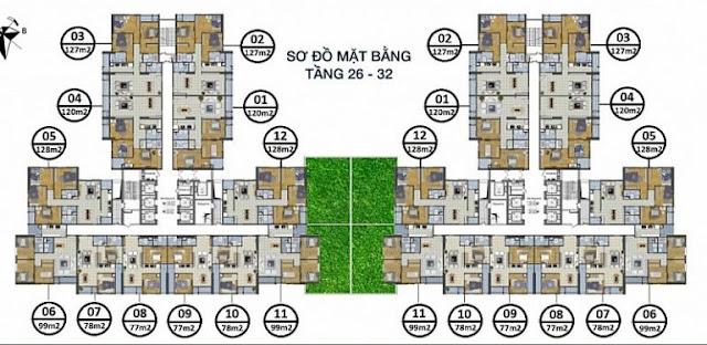 mặt bằng tầng 26 - 32 chung cư goldsilk complex