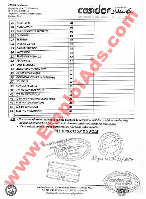 اعلان عروض عمل بشركة كوسيدار ولاية  ورقلة مارس 2017