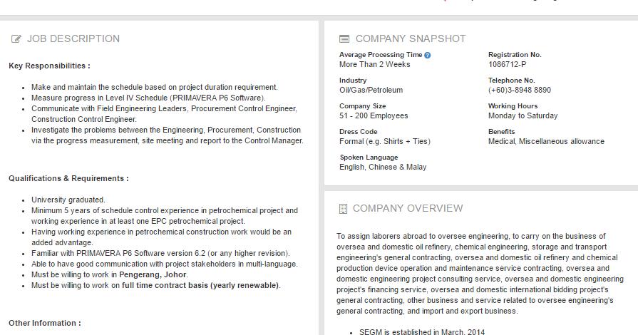 Oil &Gas Vacancies: Planning & Schedule Engineer -Sinopec ...