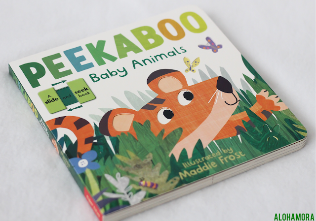 Peekabook Baby Animals by Maddie Frost is a slide and peek interactive engaging board book that is perfect for the 1-4 year olds.  Toddlers to preschoolers especially the active and squirmy kids, boys and girls alike, will enjoy this book. rhyming, tigers, penguins, dogs, fun, involved books. Alohamora Open a Book http://alohamoraopenabook.blogspot.com/