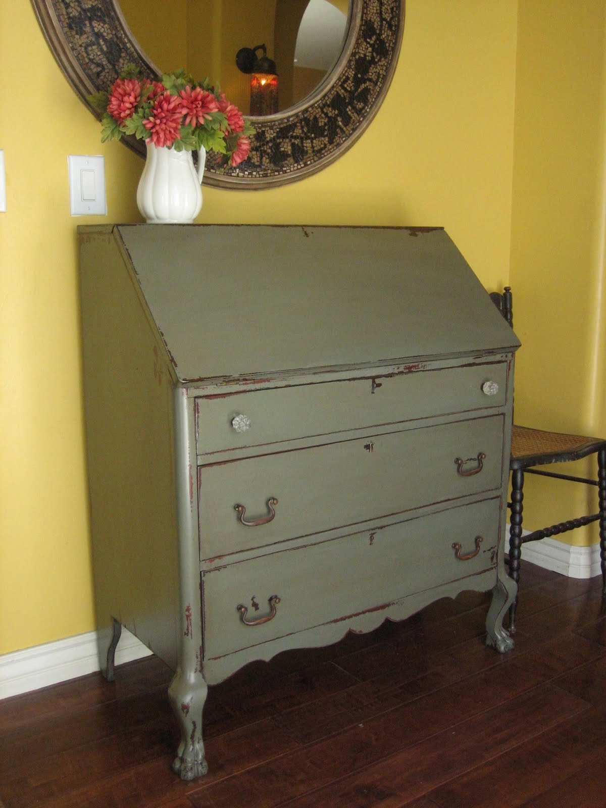 European Paint Finishes Gray Green Dresser
