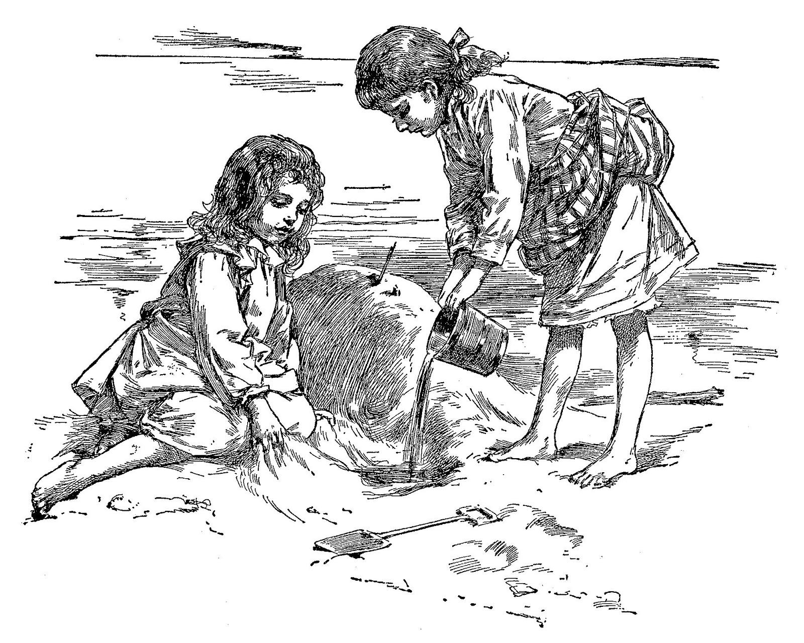 Digital Stamp Design Vintage Children Beach Play Images Toys Sand Castle Ocean Illustrations