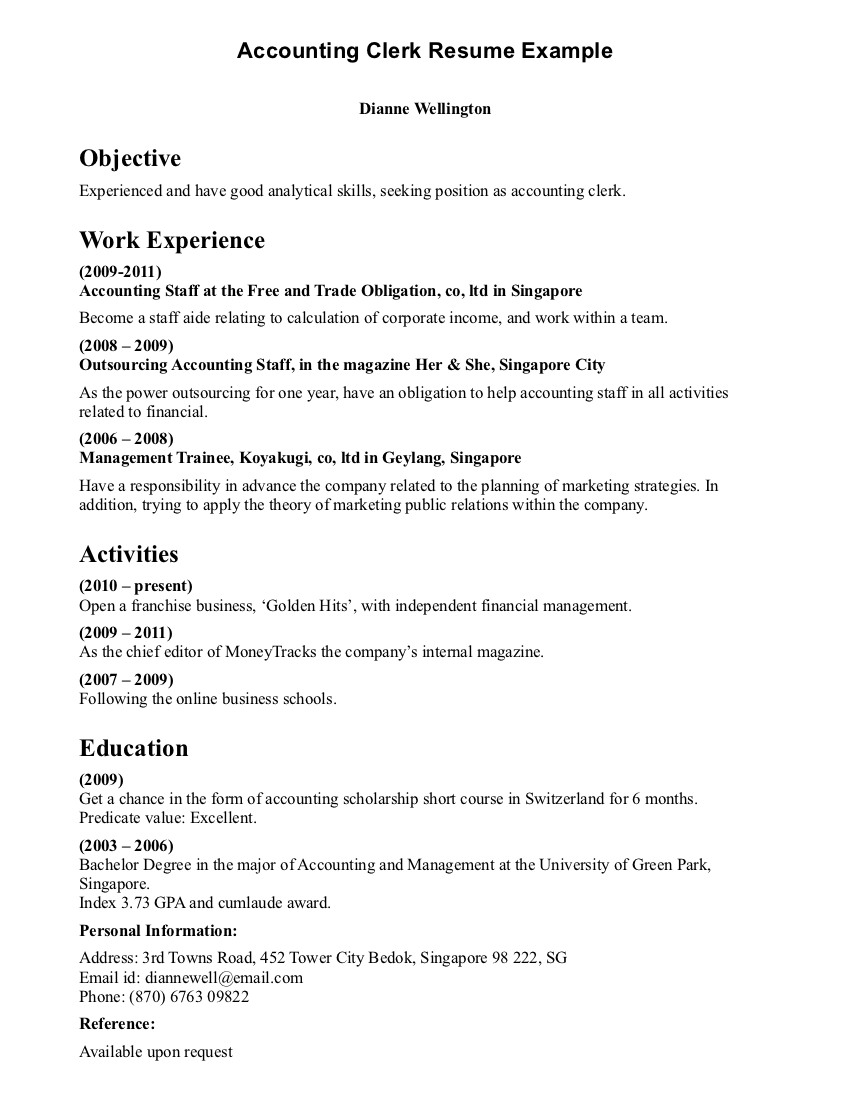 Accountant Lamp Picture Accounting Clerk Resume Samples