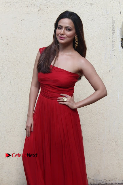 Actress Sana Khan Latest Pos in Georgius Spicy Red Long Dress at the Interview  0002.jpg