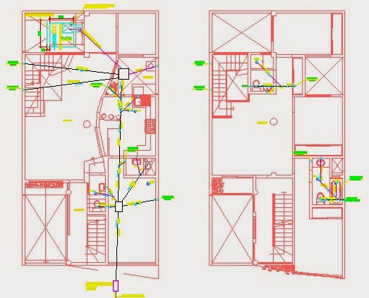 Plano instalaciones sanitarias de vivienda de 6mx15m dwg - Planos de viviendas ...