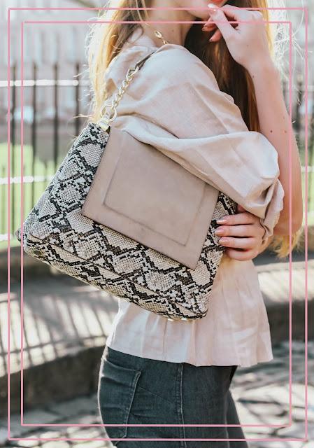 Zaar snakeskin and suede shoulder bag