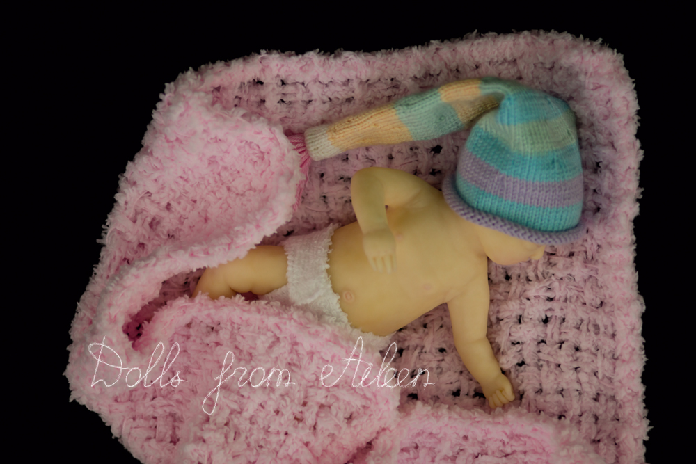 OOAK Hand Sculpted Mini Sleeping Baby Girl Doll