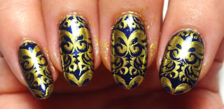 Gold Stamped Nails