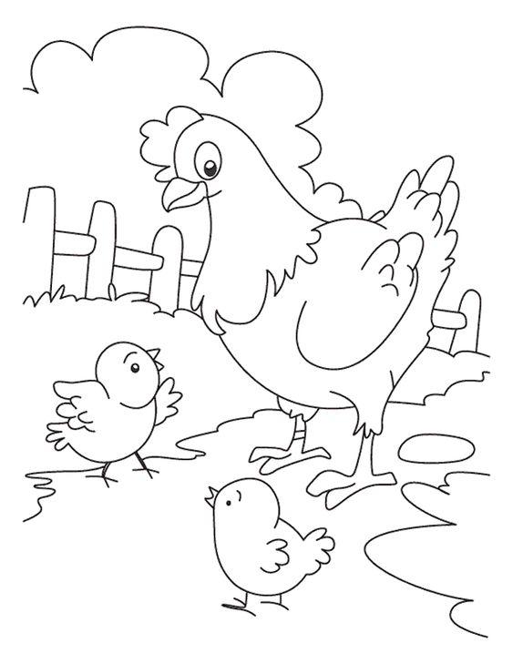 Tranh tô màu hai mẹ con gà