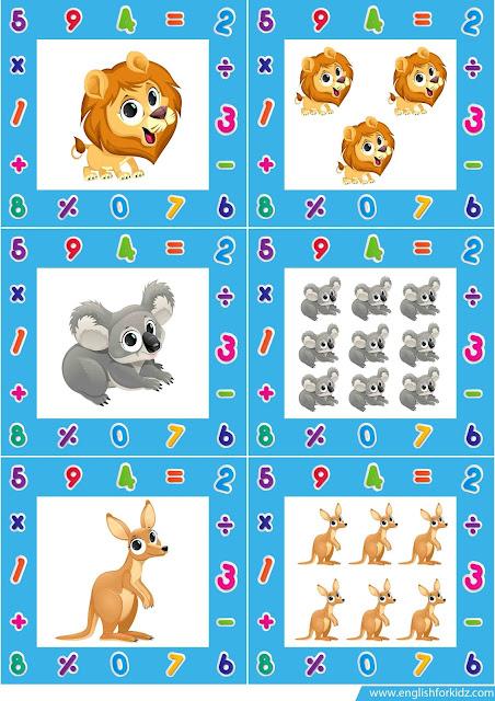 singular plural noun flashcards, farm animals flashcards