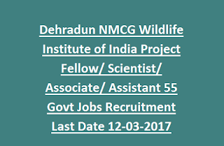Dehradun NMCG Wildlife Institute of India Project Fellow, Scientist, Associate, Assistant 55 Govt Jobs Recruitment Last Date 12-03-2017
