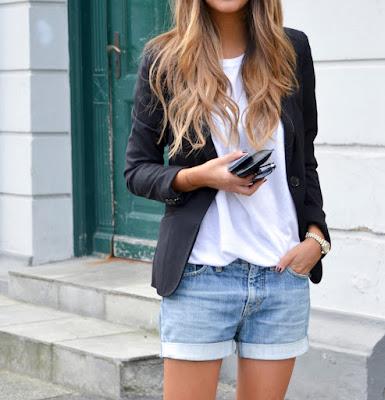 como escolher o blazer preto com short