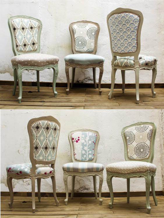 Juego de sillas Luis XV renovadas y tapizadas - Studio Alis
