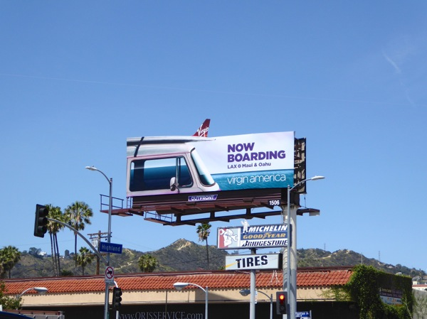 Virgin America Now boarding special extension billboard