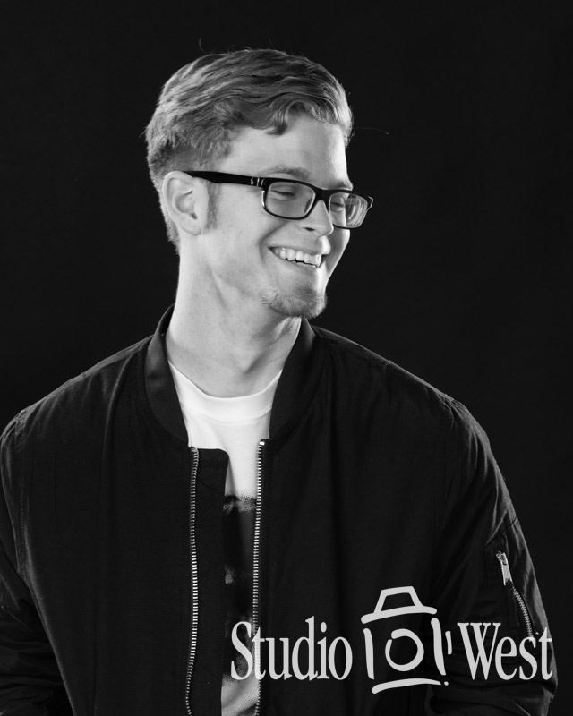 Black and White Studio Portrait - Senior Photos - Studio 101 West Photography