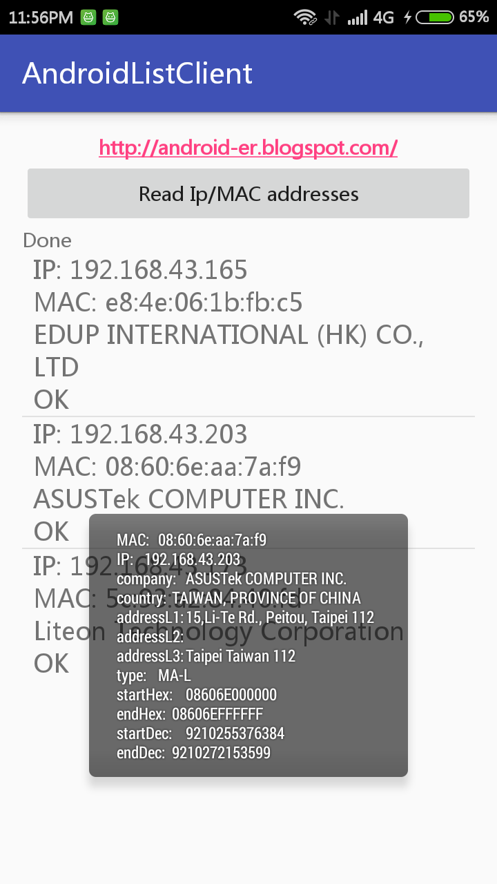Lookup manufacturer info by MAC address, using www macvendorlookup