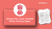 Mizoram PSC Junior Scientific Officer Previous Papers