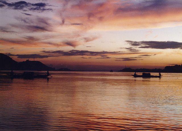 Sunset at Brahmaputa river, Assam