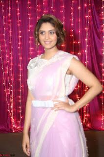 Surabhi in Designer Pink Saree and White Sleeveless Choli at Zee Telugu Apsara Awards 2017 05.JPG