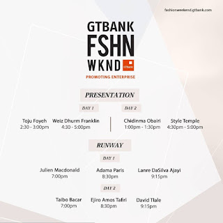 Day 1 of the GTBank FSHN WKND (GTBank Fashion Weekend) starts today and BellaNaija Style