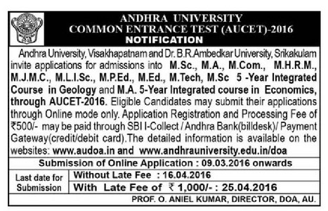 AUCET 2016 Onilne Application Form AU PGCET