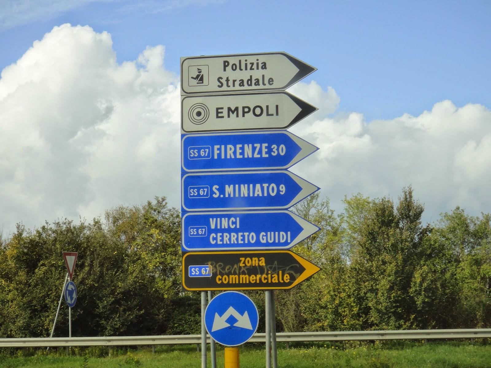 placas para chegar a Vinci na Itália